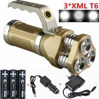 6000Lm Wiederaufladbare Taschenlampe Lanterna 3 xLamp XML T6 LED Taschenlampen taschenlampe Für Jagd Camping + 3x18650 Batterie + ladegerät