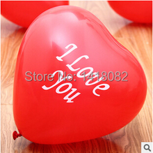 free shipping 100% latex balloons (50pieces/lot heart balloon 10inc2.0gram red color ballon I Love you