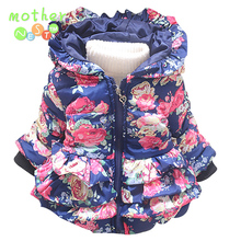2017 New baby girls Jackets children Winter floral pattern warmed Cotton Children Outerwear Lovely Long Style Coat In stock
