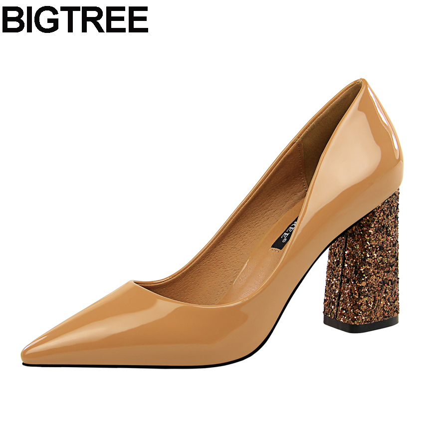 BIGTREE Work Shoes Women Pointy Toe Pumps Faux Patent Leather High Heel Sequined Bling Bling Thick Block Heel Dress Shoes Casua metallic platform dress pumps colorized chunky heel sandals bling bling sequined bridal shoes glittering paillette thick heels