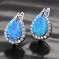 Gratuito design fantástico 3 cores fogo opal zircon cristal 925 brincos de aniversário selo ouro 6 cores