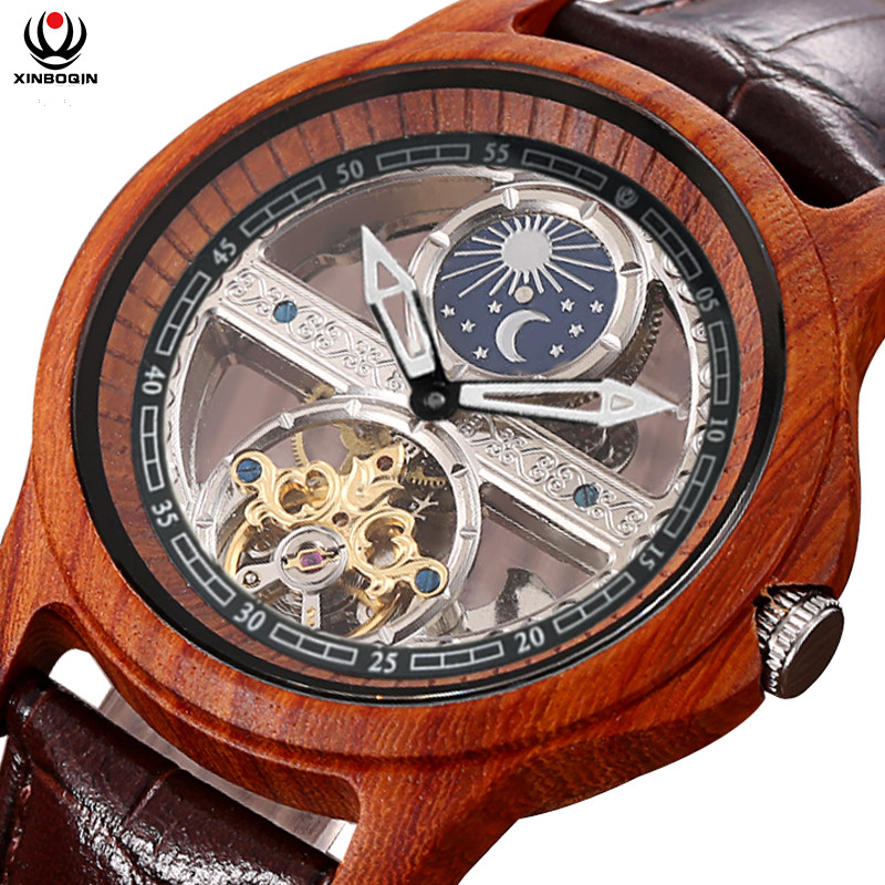 XINBOQIN Mens Brand Wooden Watches Transparent Automatic Self-wind Watch Sandalwood Tourbillon Business Wrist watch Real Leather hot sale famous bp brand princess butterfly lady lucky clover watch austrian crystal automatic self wind wrist watch