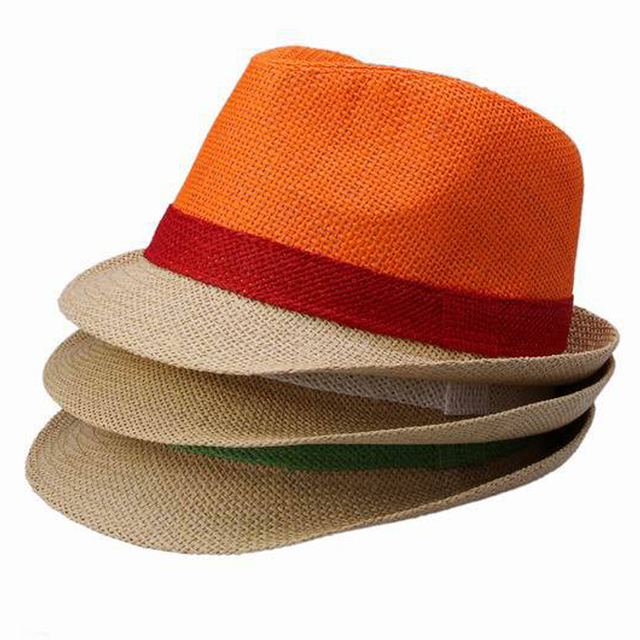 acb286d95a546a Adult Straw Fedora Hat Two Tone Color Straw With Colorful Band Natural One  Size For Women Mens