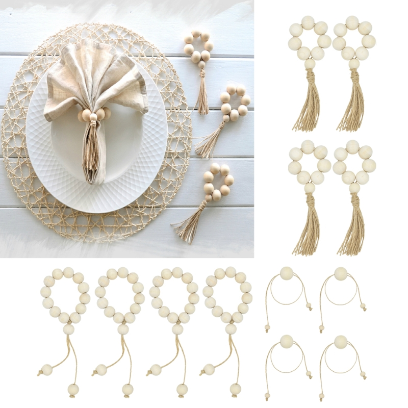 OOTDTY 4Pcs Natural Wooden Bead Napkin Rings For Weddings Home Decor Table Decoration