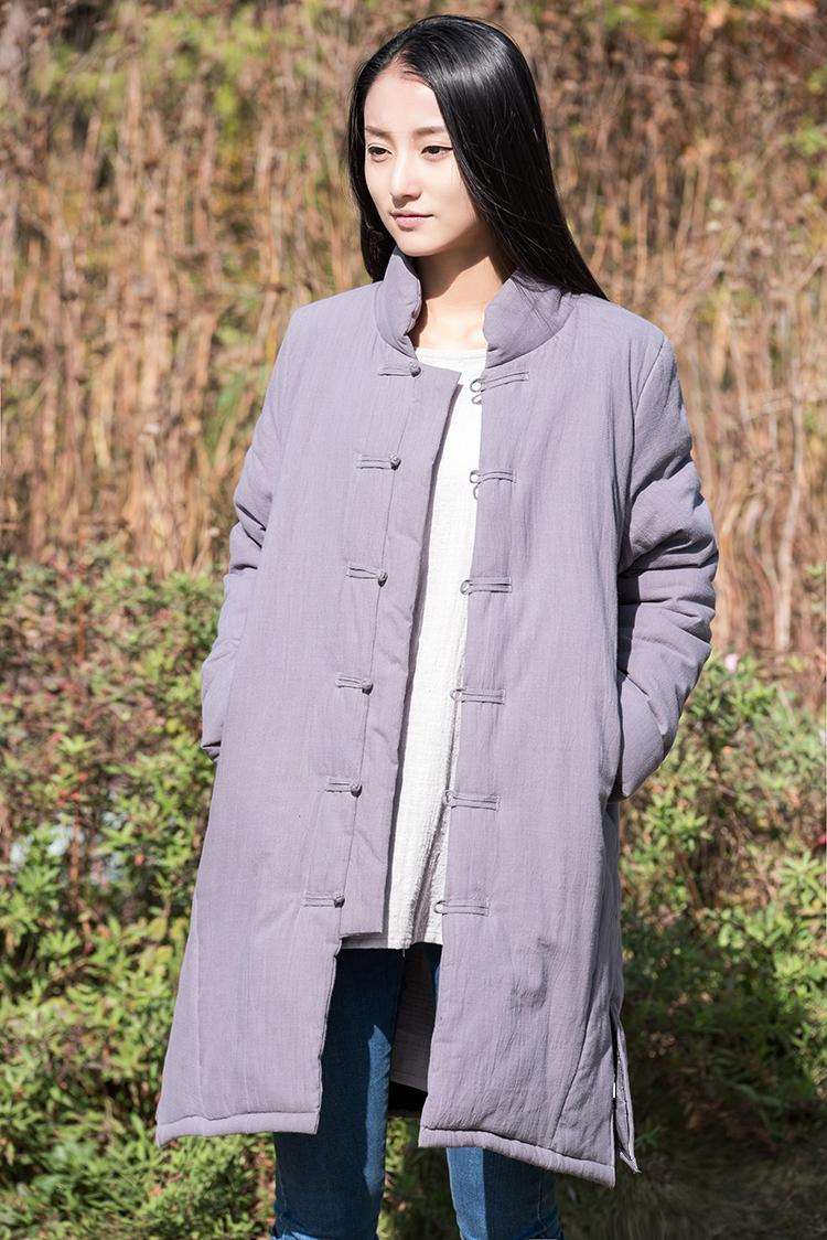 ФОТО Women 2016 Winter Cotton Linen Padded Coat Plate Button Single Breasted Ladies original simple warm Retro Stand Collar Outwear