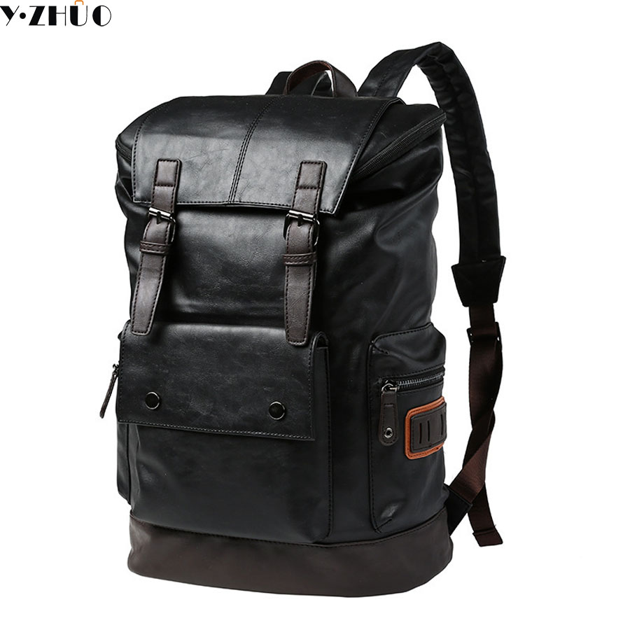 Simple Patchwork Large Capacity Mens Leather Backpack For Travel Casual Men Daypacks Leather Travle Backpack mochila hot sale ...