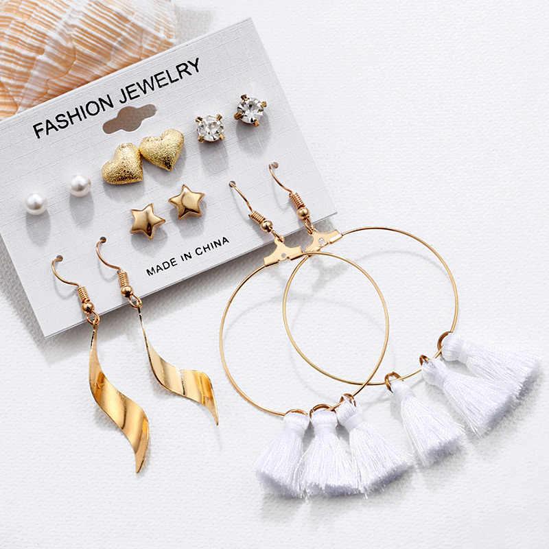 Hesiod Boho Summer Style Circle Tassel Drop Dangle Earrings for Women Heart Imitation Pearl Crystal Earring Sets Wedding Jewelry