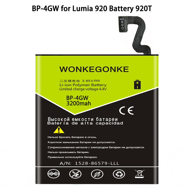 WONKEGONKE BP-4GW batería para Nokia Lumia 920 920 TBatteries Bateria