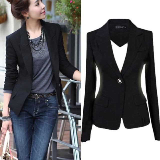 3f835be65ab46 3XL 2015 Women Slim Black Office Suit Jacket Ladies One Button Formal  Business Blazer Spring Autumn Casual Coat Basic Jackets