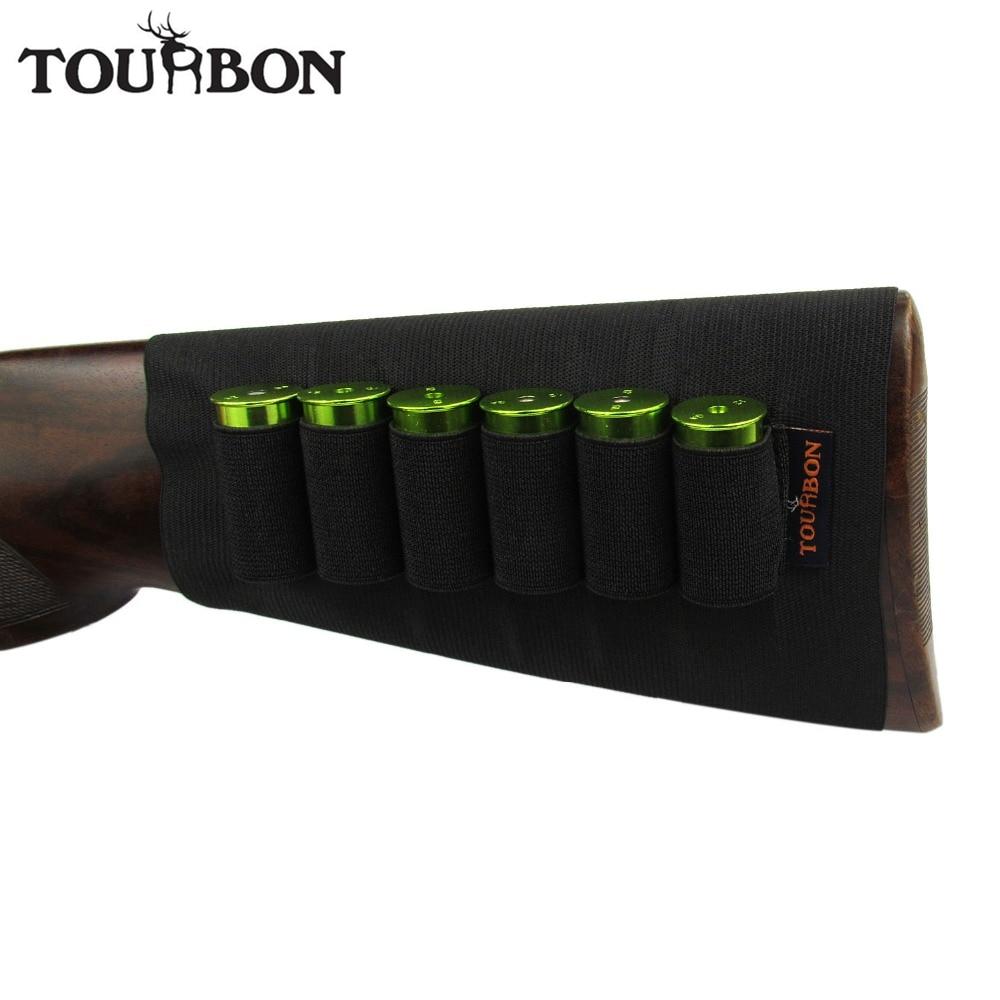 Tourbon Hunting Buttstock Shotgun Ammo Holder 6 Rounds 12/20 Gauge Shells Gun Accessories Elastic Cartridges Carrier