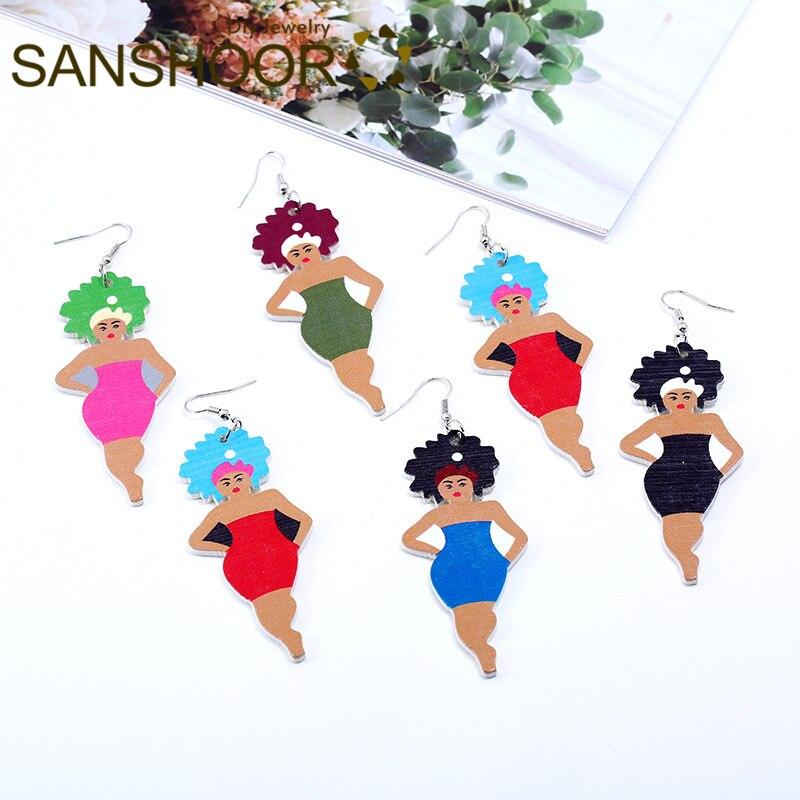 Earrings Sanshoor Printed Afro Sister Wooden Dangle Earrings Headwrap Woman Natural Hair For African American Indian Blacks Gifts 1pair Drop Earrings
