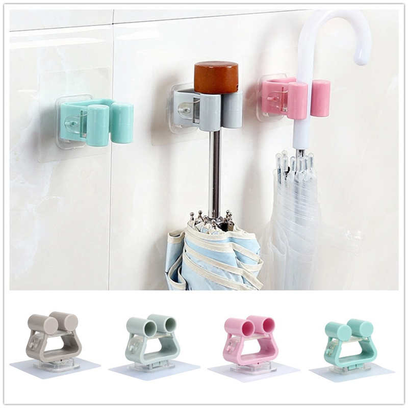 Image 2 - Creative Wall Mounted Storage Rack in Shower Room Mop Organizer Holder Brush Broom Suction on Wall Hanger Storage Rack Kitchen T-in Storage Shelves & Racks from Home & Garden