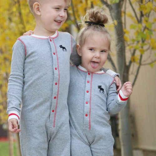 2018 осень милый новорожденный малыш для маленьких мальчиков девочек Рождество мультфильм олень лоскутное серый с длинными рукавами комбинезон Повседневная одежда