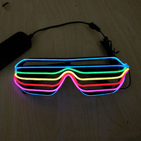 7 Colors Multi Colors EL Glowing Glasses Fashion Neon LED Light Up Shutter Shaped Glow Glasses