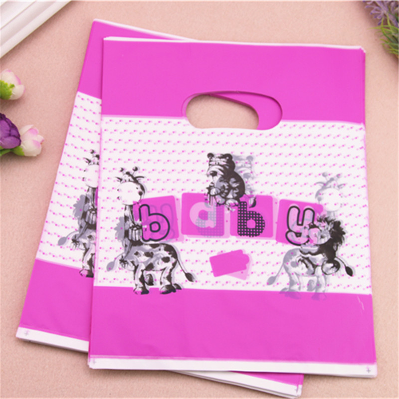 2017 New Design Wholesale 100pcs/lot 20*25cm Cute Animal Plastic Packaging Gift Bags Medium Shopping Bags With Handles