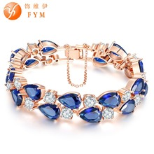 FYM Brand Luxury Rose Gold color Bracelet with Colorful AAA Zircon Crystal Bangles Femme Bracelets for Women Wedding Party fym high quality rose gold color crystal chain link bracelet femme aaa zircon cz colorful bracelets for women wedding jewelry