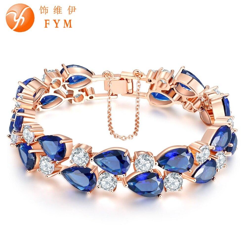 FYM Mona Lisa Marque De Luxe Rose Or couleur Bracelet avec AAA Zircon Cristal Bracelets Femme Bracelets pour les Femmes De Noce