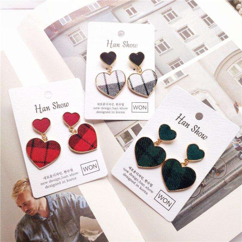 Korea Handmade Cartoon Plaid Heart Winter Women Drop Earrings Bangle Earrings Fashion Jewelry Accessories-JQDPER311D5