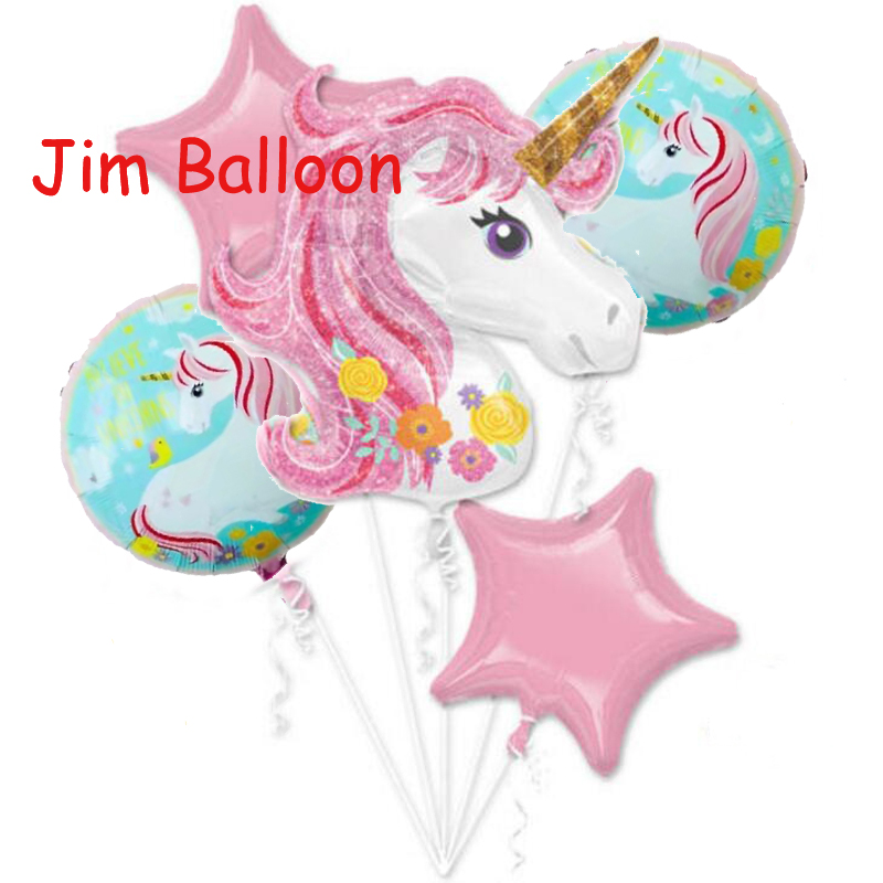5 unids/lote Rosa unicornio globo bebé fiesta de cumpleaños ...