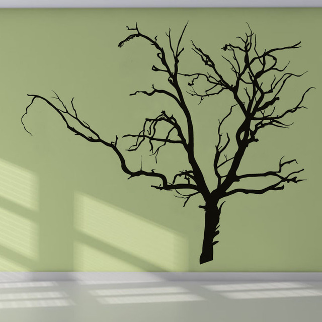 DCTOP Adhesive Scary Bare Removable Black Tree Wall Sticker Living Room  Vinyl Art Wall Decal For