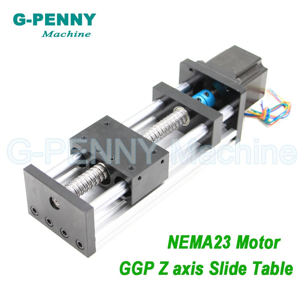 Rail de guidage de mouvement linéaire longueur mobile 100mm vis à billes 1204/1605/1610 table de travail mobile X axe Y Z avec moteur pas à pas Nema23