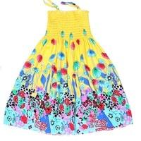 Kindstraum 2016 New Summer Children Beaches Dress Cotton Girls Sling Print Long Dress Print Flowers Fashion