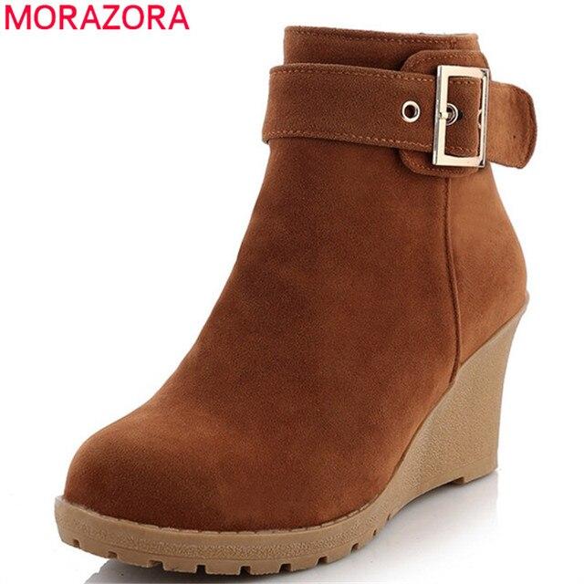 96b0f66af24 MORAZORA 2018 novedad Botines mujer flock punta redonda Otoño Invierno  botas cremallera hebilla cuñas Zapatos Mujer