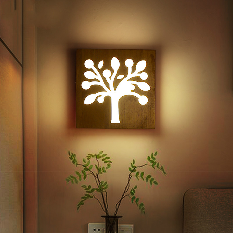 Creative wood wall modern minimalist living aisle decorative lamp LED wooden bedroom bedside lamp style lamps стоимость