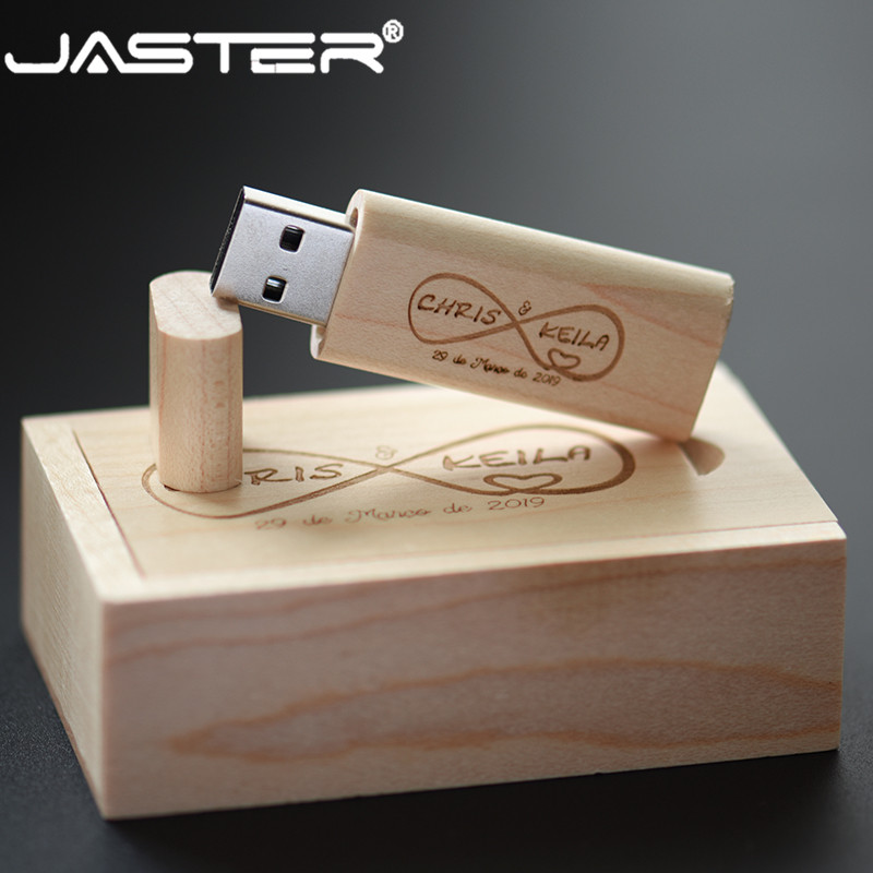 JASTER(over 10 Pcs Free Logo)hot Sale Usb+ Box Wooden Pendrive External Storage USB 2.0 4GB 8GB 16GB 32GB 64GB USB Flash Drive