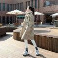 2016 Новый Зима Весна Женщины Подражали Замши Пальто Берберский Флис Длинный Жакет Рог Моды Верхняя Одежда
