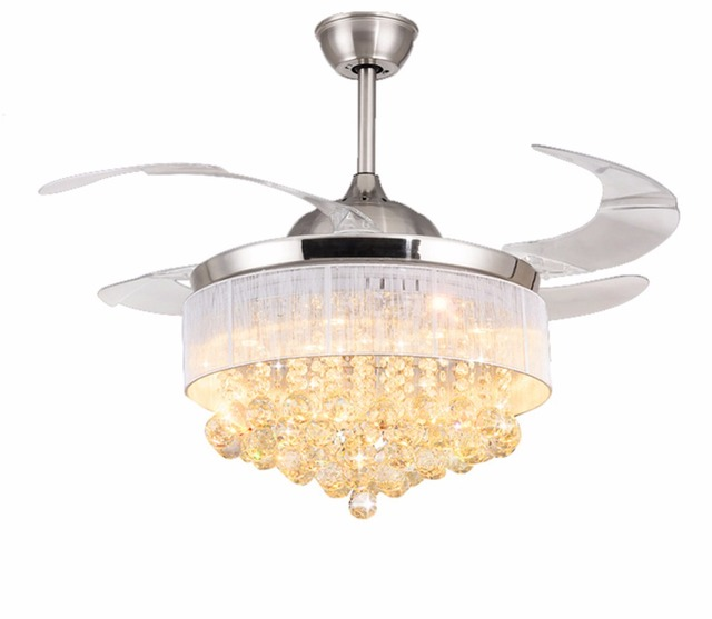 Ceiling Fans Promoting Natural Ventilation Invisible With Luxury Crystal Dimmable Chandelier Controlled By The Remote