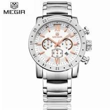 MEGIR Luminosa Acero Inoxidable Relojes de Primeras Marcas de lujo de Los Hombres de Negocios Del Ejército Militar de Cuarzo-Reloj Hombre 30 M Impermeable reloj de pulsera