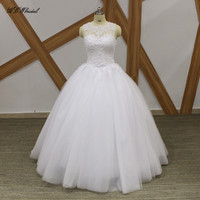 2019 New Ball Gown Wedding Dress Graceful Pearls Lace Floor Length Puffy Tulle Princess Bridal Gowns Backless Wedding Dresses
