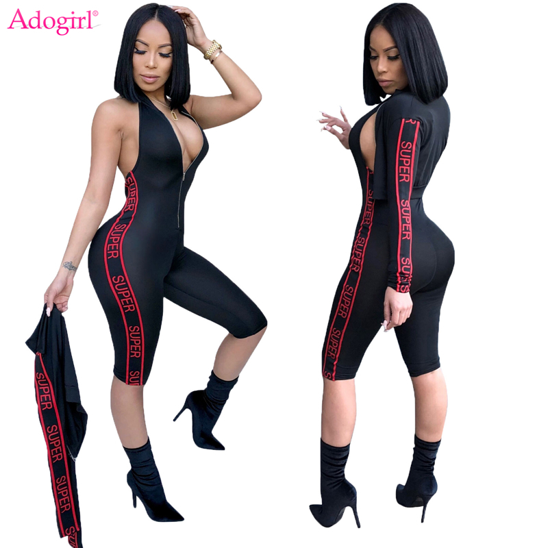 Adogirl Letter Print Women Tracksuit Zipper Up Halter Knee Length Bandage Jumpsuit + Bomber Jacket 2 Piece Set Outfits