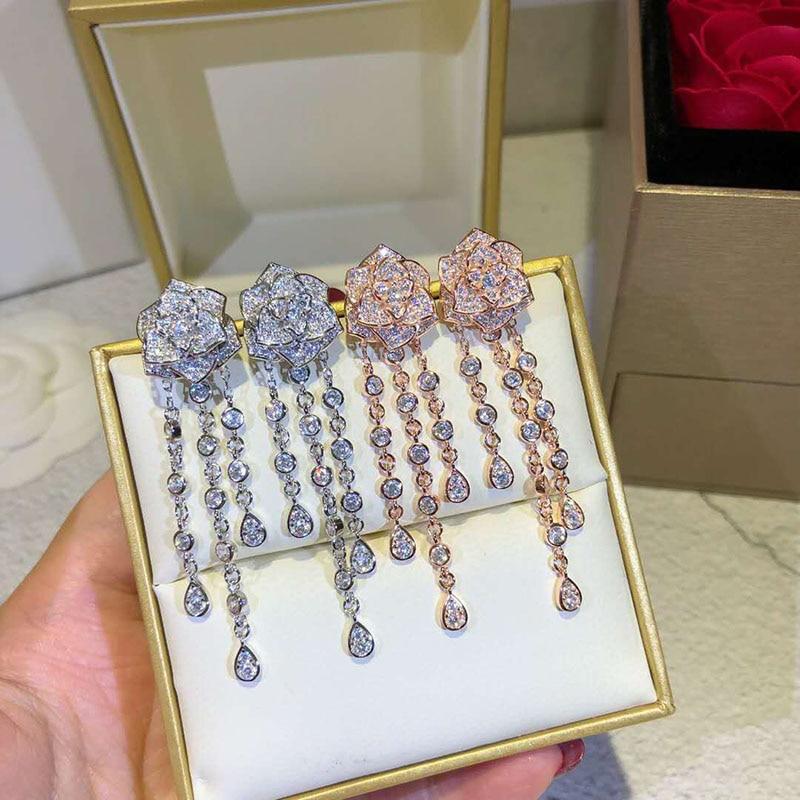 Gland Rose boucles d'oreilles couleur or Rose/ton argent mode cubique bijoux pour femmes déclaration bijoux pour cadeau e0106