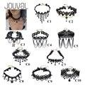 2017 collares sexy gótico vitoriano gargantilhas cristal black lace neck choker colar vintage mulheres chocker jóias steampunk