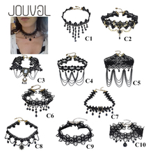 2018 Collares Sexy Gothic Chokers Crystal Black Lace Neck Choker Necklace Vintage Victorian Women Chocker Steampunk Jewelry