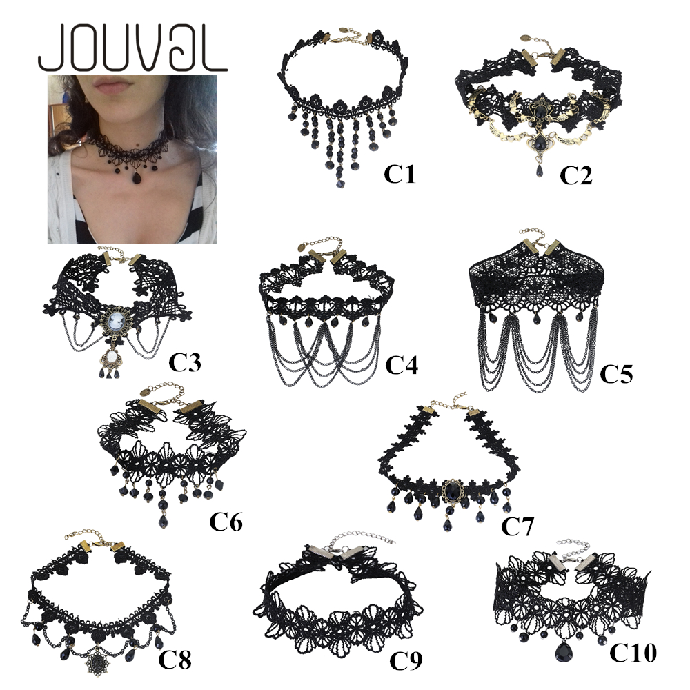 JOUVAL Collares Sexy Gothic Chokers Kristal Zwart Kant Hals Choker - Mode-sieraden - Foto 2
