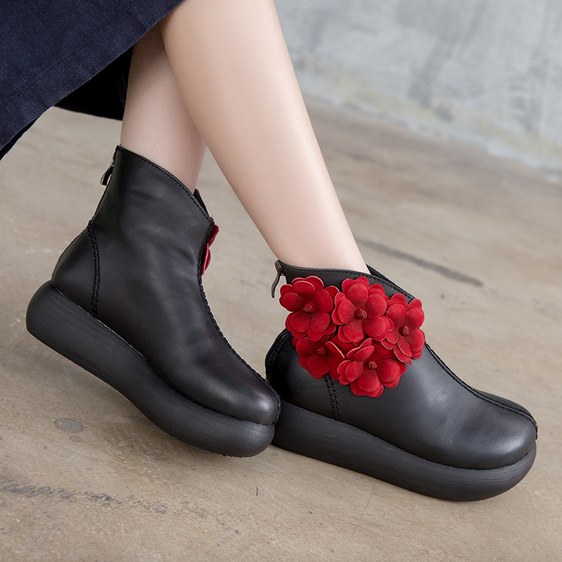 Women 5 CM High Heels Boots Genuine Leather Winter Shoes Women Wedge Heels Martin Boots Black Flower Leather Brand Ankle Boots цена