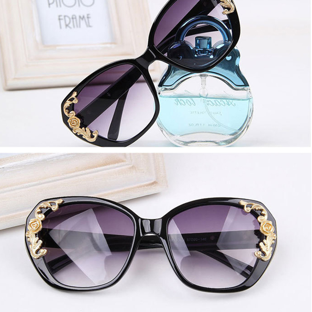 RILIXES 2018 Women Luxury Classic Eyewear Big Female Sunglasses  Brand Designer Sunglasses Pierced Sun Glasses Fashion UV400