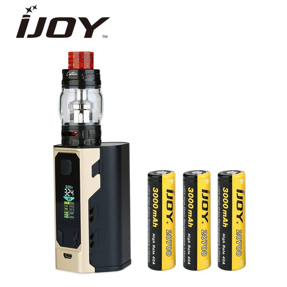 100% оригинал IJOY капитан X3 324 Вт 20700 TC комплект с 8 мл капитан X3 танк и 20700 Батарея 9000 мАч долгое время Vaping E-сигареты комплект для электронной сиг...