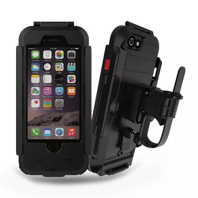 bilder für Wasserdichte Motorrad Lenker Phone Halter Ständer Rüstung Im Freien Unterstützung für iPhone 7 6 6 s 7 Plus 5 s Fahrrad GPS Telefon Tasche