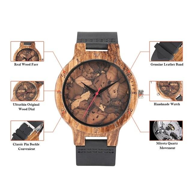 8571bc4d96f6 Creativo corcho escoria hojas rotas cara naturaleza madera reloj hombres  reloj de cuero genuino para