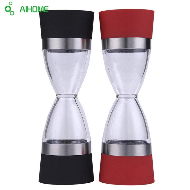 Hohe Qualität Edelstahl Hand Salz Pfeffer Mühle Schleifen 2 In 1 Keramik CorePortable Küche Mühle Muller Werkzeug