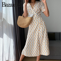 Bazaleas Fashion Puff Sleeve Wrap split vestidos Vintage tie waist women Dresses Floral print women midi dress drop shipping
