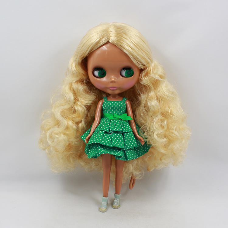 2015 Mini dolls for girls Nude Blyth black muscular blond long curly hair modified DIY Blythedoll doll girl birthday gifts