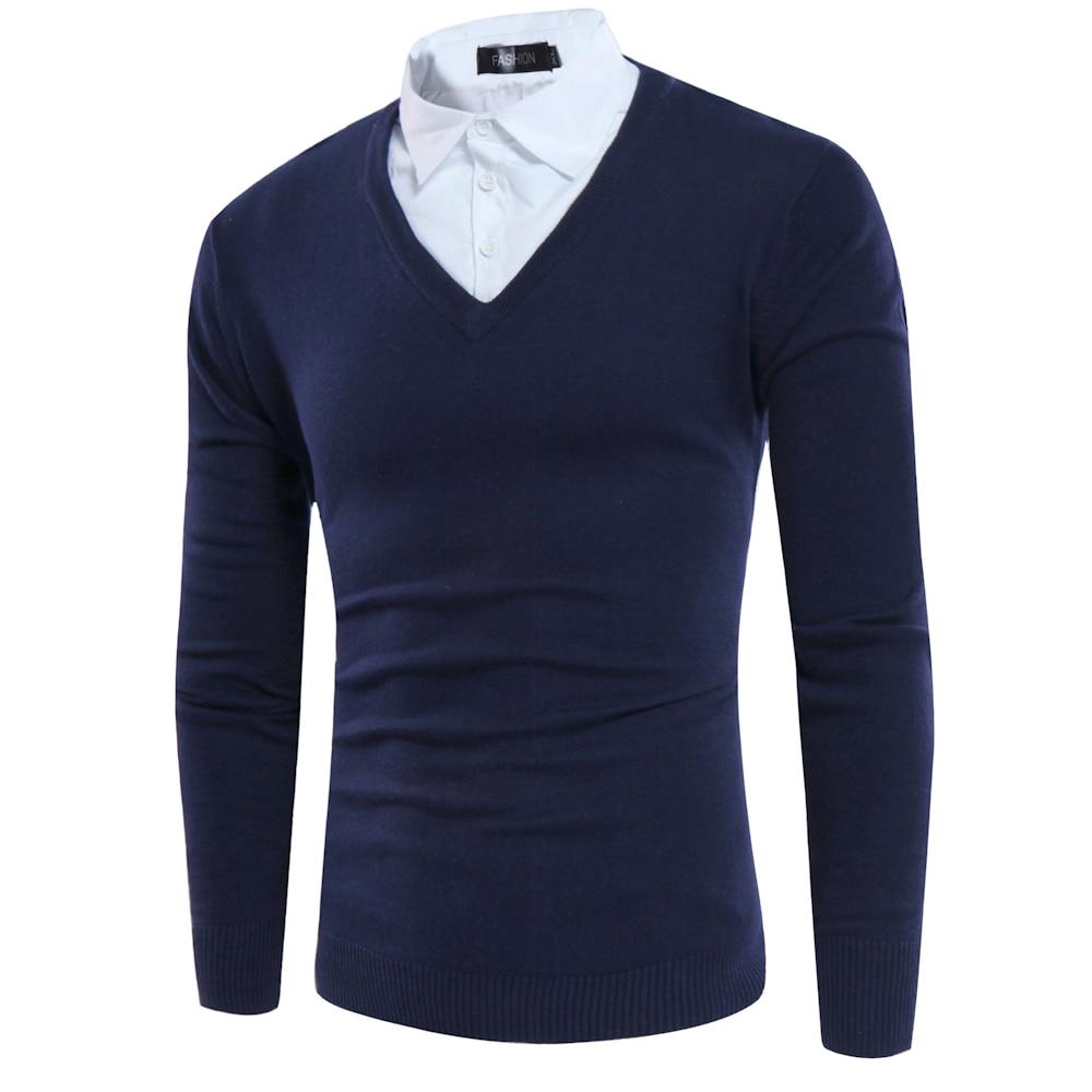 Gefälschte Zwei Stücke Männer Pullover 2017 Stil Shirts Kragen - Herrenbekleidung - Foto 4
