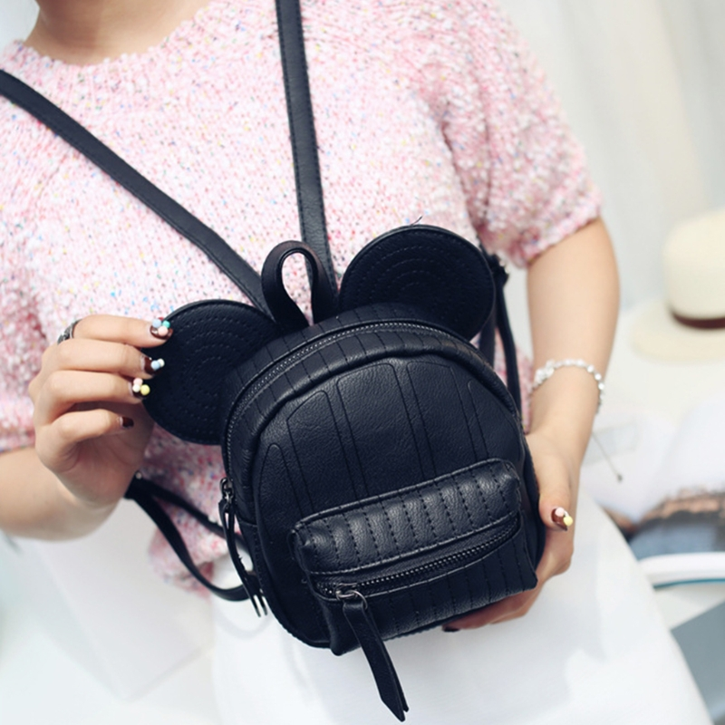 Women Girls Cute Mini Backpack Casual Leather Small Rucksack School Shoulder Travel Solid Zip Book Bag
