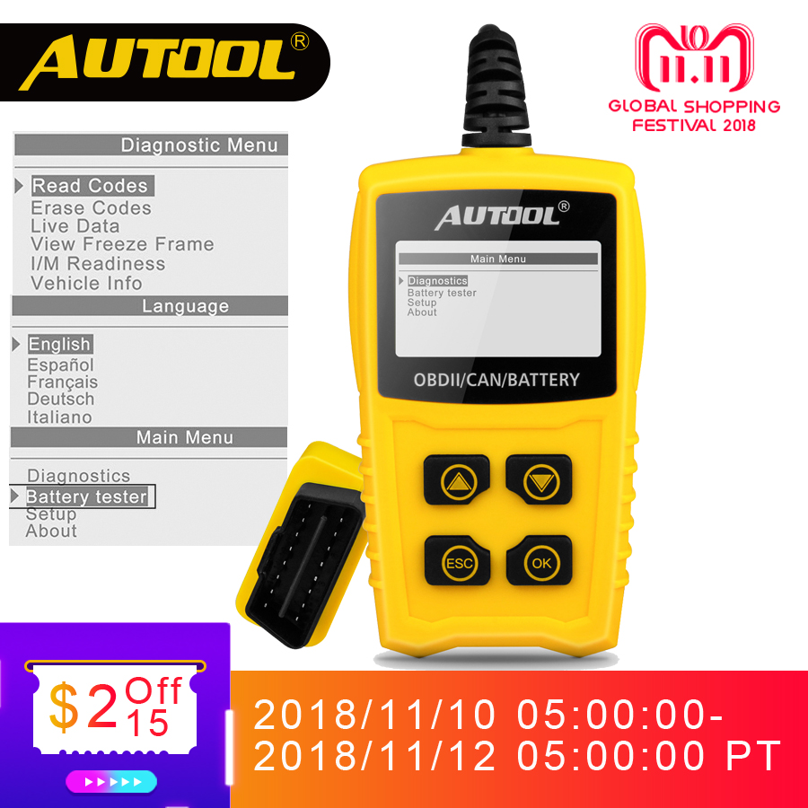 AUTOOL CS330 OBD Auto Scanner Car Code Reader OBDII 12V Cars Diagnostic Scan Tool In Russian Vehicle ELM327 same as Ancel AD310 цена и фото