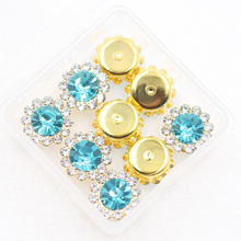 New Sew on Rhinestones 20pcs Multi Color Sewing Flower Shape Crystal Buttons for DIY Garment Jewelry Hot Sale Stones Dress